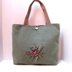 Handbag Tote Bag Purse Large Vintage Needlepoint by JackieSpicer, $58.00