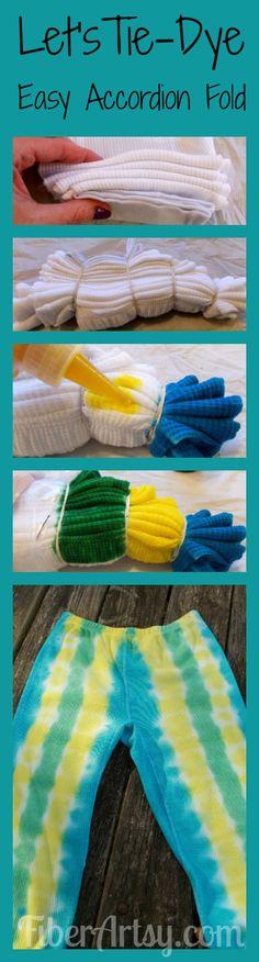 Let's Tie-Dye Long Johns! Easy Accordion Fold | FiberArtsy.com