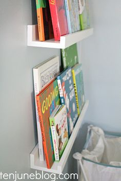Picture shelves to put books on in the nursery.