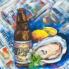 Abita and Oyster - Oyster Painting, Abita Amber Beer, Seafood Art, New Orleans Seafood, New Orleans Art Gift, Louisiana Art - FREE SHIPPING!