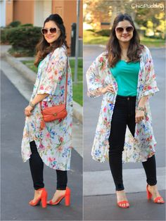Floral kimono and orange pumps Fat Girl Outfits, Hippie Outfits, Teen Fashion Outfits, Modern Outfits, Swag Outfits, Stylish Dresses, Pretty Outfits, Party Wear Indian Dresses, Indian Fashion Dresses