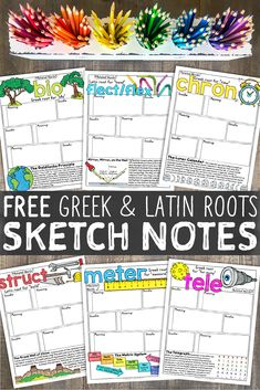 Greek and Latin Roots Sketch Notes Who doesn't love to doodle? Here's a winning combo: Greek and Latin roots & doodling! Grab this free set of sketch notes to try out with your students.Heres Heres, Herés, or Hères may refer to: Teaching Vocabulary, Vocabulary Practice, Teaching Science, Teaching Tools, Teaching Resources, Teaching Ideas, Vocabulary Ideas, Vocabulary Builder, Teaching Fractions
