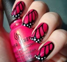 Stylish Butterfly Nail Designs - Butterfly Nail Art, Butterfly effect, Butterfly manicure design. Nail makeover with stylish butterfly nail designs and nail art Easy Nails, Simple Nails, Cute Nails, Pretty Nails, Funky Nails, Red Nails, Gradient Nails, Gorgeous Nails, Black Nails