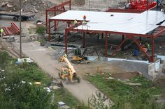 Side view of the steel construction to date at PNC Field.