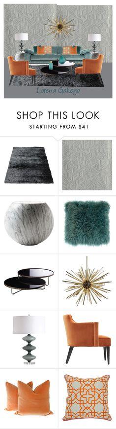 """Azul y Naranja"" by lorena-gallego on Polyvore featuring interior, interiors, interior design, hogar, home decor, interior decorating, Cappellini, Modloft, Dot & Bo y Arteriors"