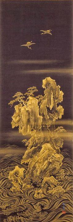 Mount Horai, the Isle of the Immortals. Suzuki Kiitsu. Japan, 19th century. Hanging scroll; gold on indigo dyed silk. LACMA