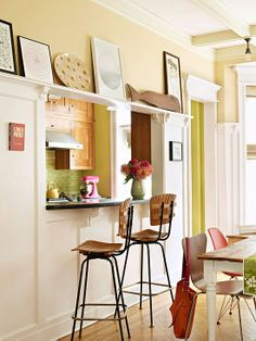house tours eclectic brooklyn apartment - Kitchen Pass Through