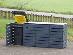 4er Mülltonnenbox / Mülltonnenverkleidung aus wetterfestem Holz, Douglasie, Oberfläche: Anthrazit Grau, für 60 L, 80 L, 120 L & 240 L Mülltonnen, Lieferung komplett montiert, auch mit Edelstahl - Deckel erhältlich - Made in Germany