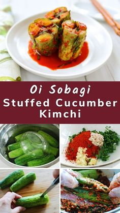 Oi sobagi (오이소박이), stuffed cucumber kimchi, is a summer favorite in Korea. It's crisp, crunchy and deliciously refreshing! Oi means cucumber, and sobagi means it's stuffed with a seasoning mix. Vietnamese Recipes, Thai Recipes, Asian Recipes, Korean Food, Chinese Food, Japanese Food, Cucumber Kimchi, Potluck Recipes, Seasoning Mixes