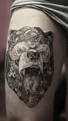 Iain Macarther illustration tattooed by Ivan Dementev in Russia.