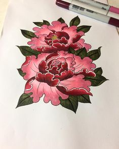 Prepping color for tomorrows tattoo. Hopefully she'll like it #tattoo #tattoodesign #tattoosketch #sketchbook #color #coloring #flowers #flora #peony #peonies #japanese #irezumi #oriental #asian #organic #girly #legpiece #art #artwork #artsy #illustration #drawing #draw #practice #homework #custommade #ink #inked #tatted