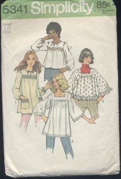"I still have this pattern!!  A friend and I made matching tops when we were in 10th grade...I will never forget her. ""by Jennie""  Misses smock tops 5341 size 8-10 1972 pattern"
