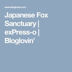Japanese Fox Sanctuary | exPress-o | Bloglovin'
