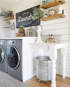 Who says that having a small laundry room is a bad thing? These smart small laundry room design ideas will prove them wrong. Laundry Room Remodel, Laundry Room Cabinets, Laundry Room Organization, Diy Cabinets, Laundry Room Shelving, Organization Ideas, Storage Ideas, Laundry Table, Laundry Area