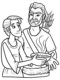esau excange his birth right for a bowl of stew in jacob and esau coloring page