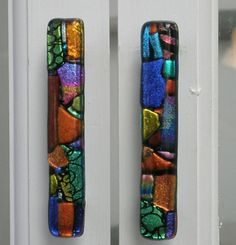 Cabinet or Drawer Pull in Mosaic Art Glass Knobs and Pulls Handles Fused Glass Art, Dichroic Glass, Stained Glass, Mosaic Art, Mosaic Glass, Mosaic Tiles, Knobs And Pulls, Door Pulls, Drawer Pulls