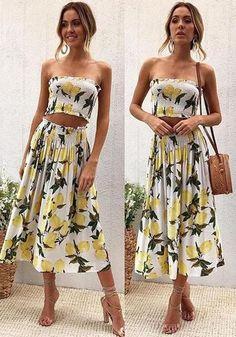 3da27e776c2 White Lemon Print Off Shoulder Two Piece High Waisted Beachwear Bohemian  Midi Dress
