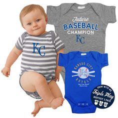 Kansas City Royals Baby Future Baseball Champion 3-Pack Multi Size Premium Bodysuit Set - MLB.com Shop