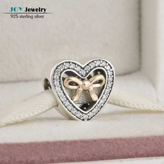 Authentic 925 Sterling Silver Bound By Love Heart Charms Beads With Cubic Zirconia BD373 (17)