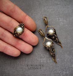 WireDream - латунное кольцо и серьги с жемчугом