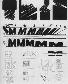 Cuadro sistematizado de las transformaciones con la letra M. Autor: Wolfgang Weingart. En: Weingart, W.:  Typography. Wege zur typographie (Baden, Lars-Müller 2000, p. 241).