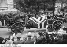 Württemberg took German people in solemn act of state farewell to one of most important military leaders of war,Rommel,carriers of highest decoration for bravery.Many high-ranking Wehrmacht,Party & State present to pay homage.von Rundstedt made memorial speech on merits of Marshal & put wreath on coffin.Tens of thousands lined streets, the coffin of the dead marshal on his last ride.Forced to commit suicide because association with 20 July conspirators,on gun carriage to crematorium.