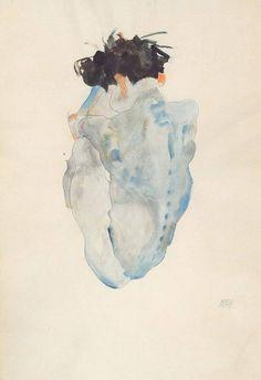 """sgualcita: """"colin-vian: """" Egon Schiele, Accroupi-1912 """" Sembra un cuore. """""""