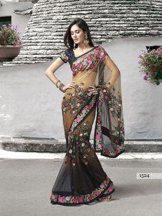 Brown and black net saree with blouse                                                            zeenat stye