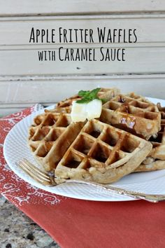 Blue Ribbon Apple Fritter Waffles with Caramel Sauce from #callmepmc I can't even describe how amazing these are!!