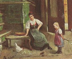 Mother and Child Feed Chickens Tuck Oilette by TheOldBarnDoor
