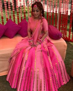 We So Love the Pink on Pink Combo 💕 📸via Indian Bridal Fashion, Indian Wedding Outfits, Punjabi Wedding Dresses, Indian Weddings, Indian Gowns Dresses, Bridal Dresses, Indian Designer Outfits, Designer Dresses, Lengha Blouse Designs