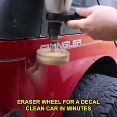 Eraser Wheel for A Decal Clean Car In Minutes Decal Remover – Garage Organization DIY Garage Tools, Car Tools, Auto Body Repair, Mechanic Tools, Car Gadgets, Car Hacks, Cool Inventions, Car Cleaning, Car Ins
