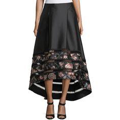 Sachin & Babi Noir Faye High-Low Ball Skirt (6.575 NOK) ❤ liked on Polyvore featuring skirts, jet, a line maxi skirt, short front long back skirt, high low ball skirt, a line skirt and pleated maxi skirt