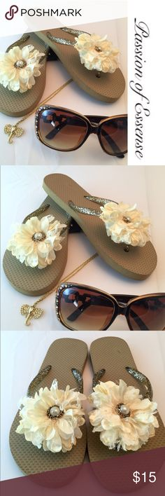 Clearance Sale Cream Pearl  Flip Flops Clearance  Adorable summer sandals were hand craft by me, they are one of a kind with a cream color pearl flower in the middle. ❌Accessories not included in the price❌. Passion of Essense Shoes Sandals