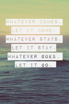 wish i did this a long time ago... **whatever comes, let it come. **whatever stays, let it stay. **what ever goes, let it go.