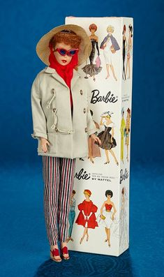 """Mattel, Inc (USA) — Titian Pony-Tail Barbie, Issue in """"Open Road"""" Ensemble with Original Box, 1961 Vintage Barbie Clothes, Vintage Dolls, Antique Dolls, Barbie Images, Barbie Family, Barbie Doll House, Beautiful Barbie Dolls, Barbie Collector, New Dolls"""