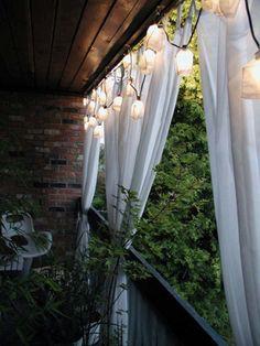 """Light coloured floors, shower curtains and hammocks."" Good tips! Scandinavian exterior design"