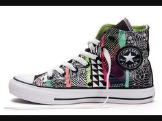ec0b4230d2fb6f Discover the CONVERSE Chuck Taylor All Star Geometric Pattern Print Multi  Colored High Tops Canvas Sneakers For Sale group at Footseek.