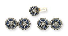 AN ART DECO SAPPHIRE AND DIAMOND DRESS SET, BY CARTIER   Comprising a pair of cufflinks, the flowerheads set with calibré-cut sapphire and old-cut diamond petals, to the diamond collet centre; and a dress stud en suite, circa 1915, with French assay marks for platinum and gold  Stud signed Cartier, no. 1985, cufflinks and stud stamped HP for Henri Picq, one cufflink no. 1820