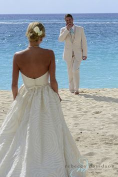 Sweet 'first look' on Seven Mile Beach – Elegant Westin Grand Cayman Wedding by Rebecca Davidson