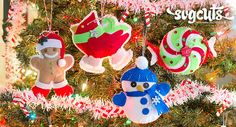 Felt die-cut ornaments. Check out how to make theses using Svgcuts patterns and your cutting machine.
