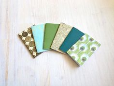 Notebooks: Small Notebooks, Stocking Stuffer, Green, Peacock, Teal, For Her, Mini Journals, Christmas Party Favors, 6 Tiny Journals Set