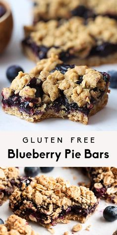 Blueberry Pie Bars with Oatmeal Crumble (vegan & gluten free!) - Food&Drink - Perfectly sweet healthy blueberry pie bars topped with a delicious oat crumble. These easy vegan an - Easy Cookie Recipes, Baking Recipes, Cake Recipes, Dessert Recipes, Brownie Recipes, Gluten Free Baking, Vegan Baking, Gluten Free Recipes, Gluten Free Bars