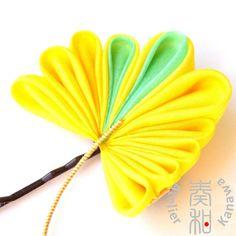Ichou Ginko Leaf Bobby pin Tsumami Kanzashi by AtelierKanawa, $19.99