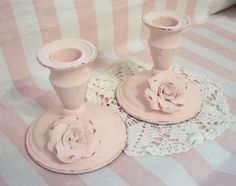 shabby chic pink candle holders with roses