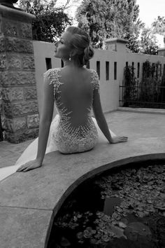 Beautiful backless wedding gown