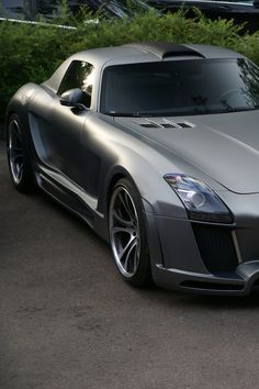 Silver car Mercedes SLS Gulfstream