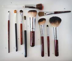 As promised, here you have my favorite brushes. Most of them are Morphe (from overstock.com). The white one with the bling up top came from a Costco brush set I got a couple years ago... that they ...