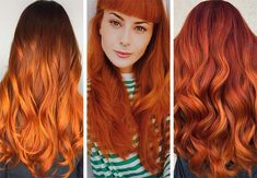63 Hot Red Hair Color Shades to Dye for: Red Hair Dye Tips & Ideas Hair Color Auburn, Hair Color Purple, Hair Color Highlights, Brown Hair Colors, Color Red, Orange Ombre Hair, Dyed Red Hair, Dyed Tips, Hair Dye Tips