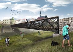 steel pedestrian bridge over the Lubina - designed by MOAD architects